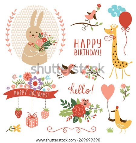 holiday set. birthday card design elements - stock vector