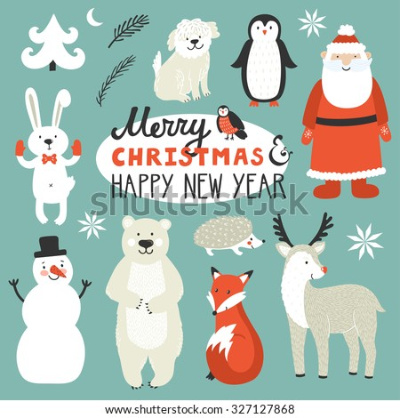 Holiday set of cute Christmas characters: Santa Claus, fox, deer, penguin, rabbit, polar bear, urchin, dog, bullfinch. Christmas card with text Merry Christmas and happy New Year. Winter background - stock vector