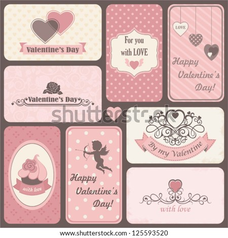 Holiday set of retro cards by St. Valentine's Day - stock vector