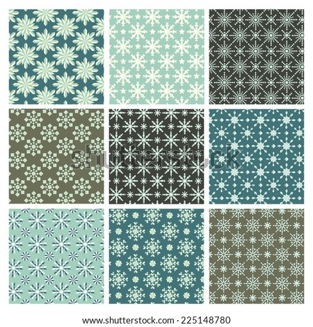 Holiday Snowflake Pattern Set - 9 seamless patterns.  Each pattern is grouped separately for easy editing.  Colors are global for easy editing.  Pattern tiles are included in swatches window. - stock vector
