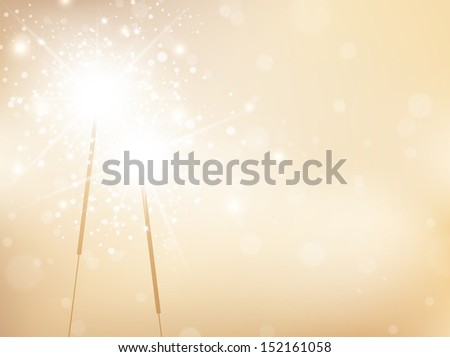 Holiday Sparklers Golden Background, Copyspace For Your Greetings  - stock vector