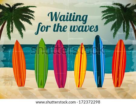 Holiday surfboards on the ocean beach card vector illustration - stock vector