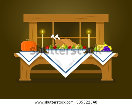 Holiday table for Thanksgiving. Food dinner, celebration traditional, turkey and vegetable, pumpkin flat vector illustration - stock vector