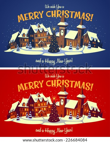 Holiday town. Christmas card \ poster \ banner. Vector illustration. - stock vector