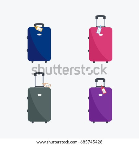 holiday & vacation. tourism isolated vector. four flat design style simple clean modern icon or symbol suitcases of tourists & baggage or luggage. ready to fly cartoon for web site & app