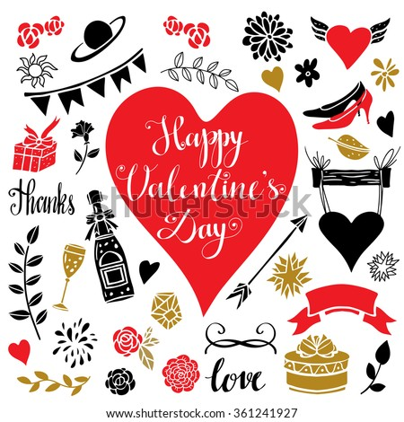 Holiday valentines day, wedding, love hand drawn icons set. Calligraphic text, lettering