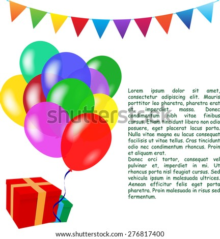 Holiday vector background with colorful balloons. Birthday  - stock vector