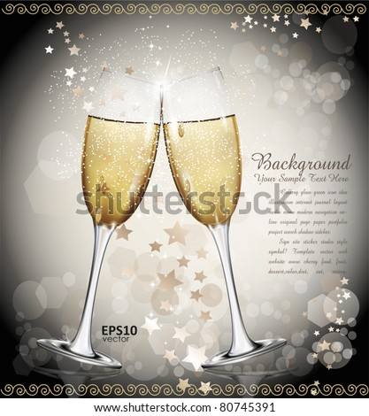 holiday vector background with two glasses of wine, the stars - stock vector