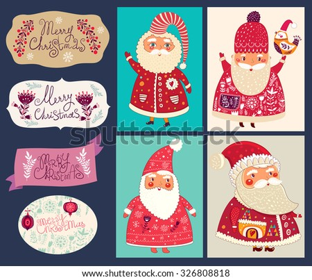 Holiday vector collection with the Santa Clauses for Christmas and New Year decoration - stock vector