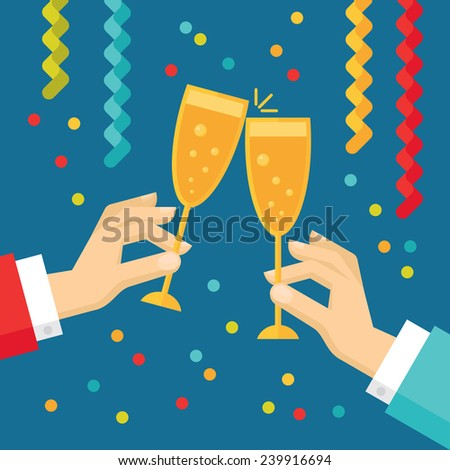 Holiday vector concept illustration in flat style. Human hands with glasses with champagne, streamers and confetti. New year and Christmas flat illustration.  - stock vector