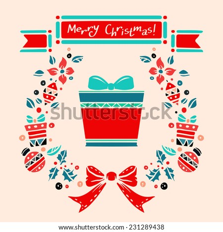 Holiday vintage Christmas card with ribbon, gift box, holly, wreath, frame, ball, flowers, bow. Text merry Christmas  - stock vector