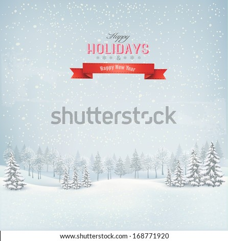 Holiday winter landscape background with winter tree. Vector.  - stock vector