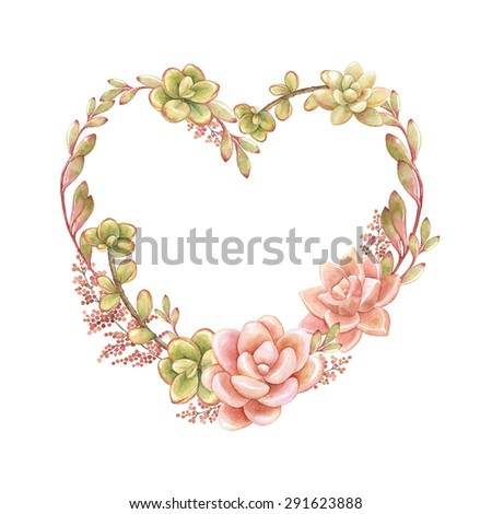 Holiday wreath of watercolor succulents in the form of heart, vector illustration in vintage style. - stock vector