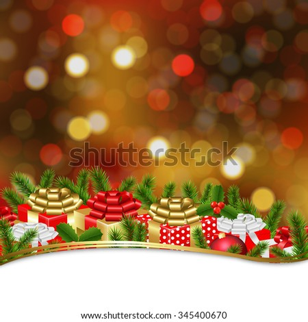 Holiday Xmas Gift Border With Gradient Mesh, Vector Illustration - stock vector