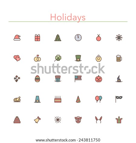 Holidays and events colored line icons set. Vector illustration. - stock vector