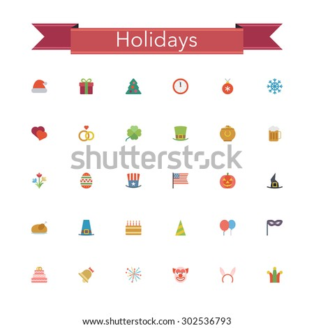 Holidays and events flat icons set. Vector illustration.