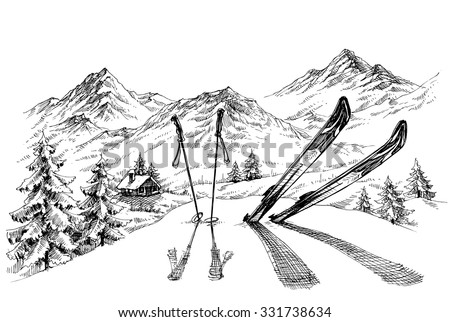 Holidays at ski background, mountains panorama in winter sketch - stock vector