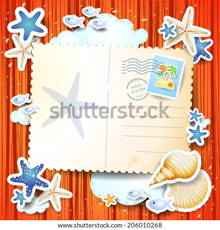 Holidays background with postcard, vector eps 10 - stock vector