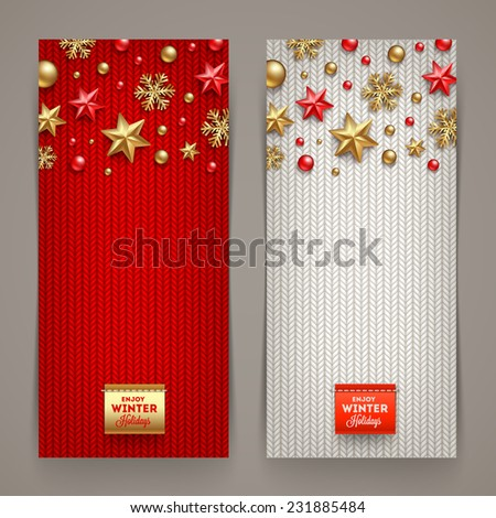 Holidays banners with knitting background and Christmas decoration - vector illustration - stock vector