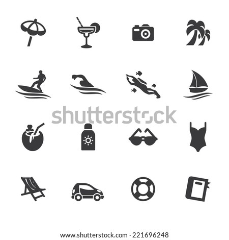 Holidays Beach Silhouette icons - stock vector