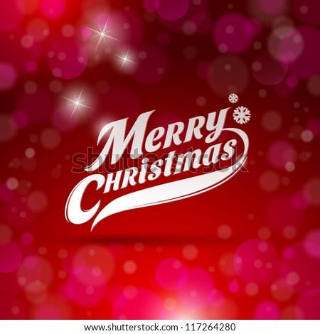 Holidays card design with decorative inscription - Merry Christmas - stock vector