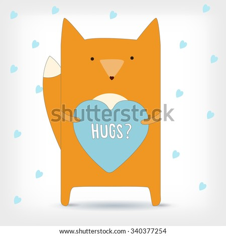 """Holidays card, poster or banner with happy winter new year cute fox and text """"hugs"""" on the heart. Vector color illustration - stock vector"""