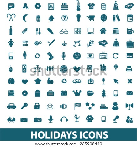 holidays, celebration, vacation icons, signs, illustrations design concept set for appliciation, website, vector on white background