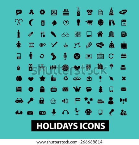 holidays, event, celebration isolated icons, signs, illustrations concept website internet design set, vector - stock vector