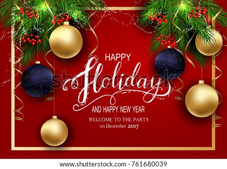 Holidays greeting card winter happy holidays stock vector 761680039 holidays greeting card for winter happy holidays fir tree branches frame with lettering m4hsunfo