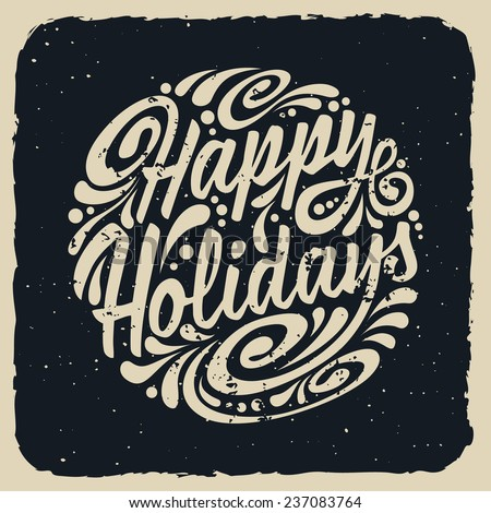 Holidays greeting card with abstract doodle. Vector eps10 illustration. Happy Holidays - stock vector