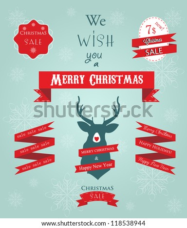 Holidays greetings and sale labes with ribbon and deer on snowflake background - stock vector
