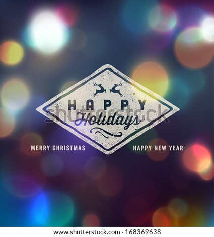 Holidays Handwritten Typography over blurred background - stock vector