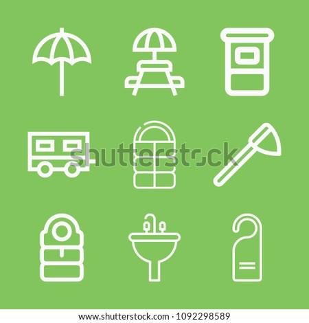 Holidays Icon Set Outline Collection Stock Vector - Picnic table trailer