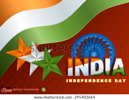 Holidays layout template with national flag colors of India; Orange, white and green stars and Ashoka wheel on national flag colors for fifteenth of August, Indian Independence Day - stock vector