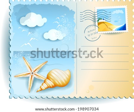 Holidays on the beach, postcard. Vector  - stock vector