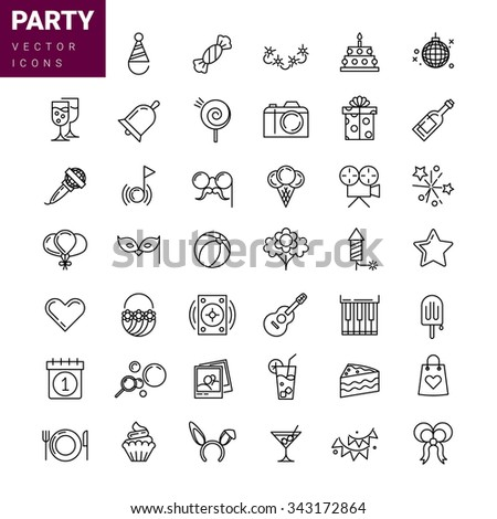 Holidays, party and birthday line icons set. Party and gift, celebration and balloon, cake and calendar, vector illustration - stock vector