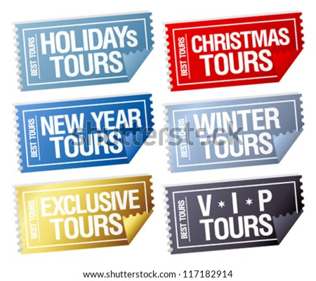 Holidays tours stickers in form of tickets. - stock vector