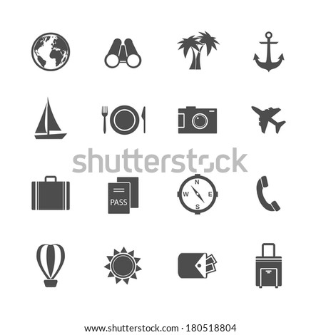 Holidays vacation pictograms collection of yacht plane sun and balloon isolated vector illustration - stock vector