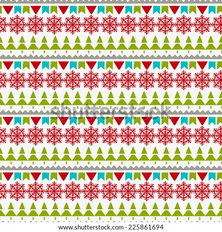 Holidays vintage Christmas seamless boarders design. Abstract silhouette new year ornament. Repeating pattern background. Winter texture - stock vector