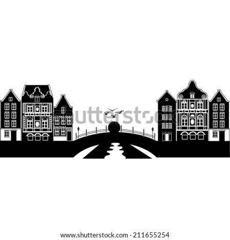 Holland landscape. City, bridge, river, sunset. Vector illustration. - stock vector