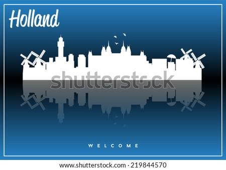 Holland skyline silhouette vector design on parliament blue background. - stock vector