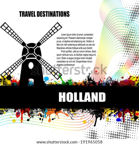 Holland, vintage travel destination grunge poster with colored splash and space for your text, vector illustration - stock vector