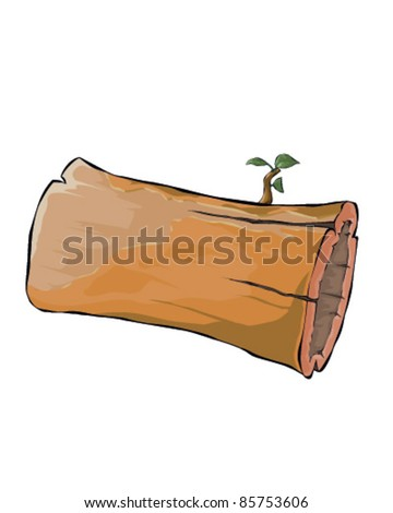 Hollow tree trunk - stock vector