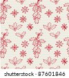 Holly and snowflake seamless pattern - stock vector