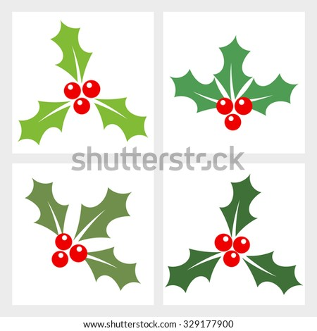 Holly berry collection. Vector illustration - stock vector