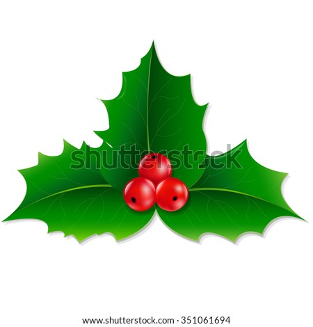 Holly Berry With Gradient Mesh, Vector illustration - stock vector