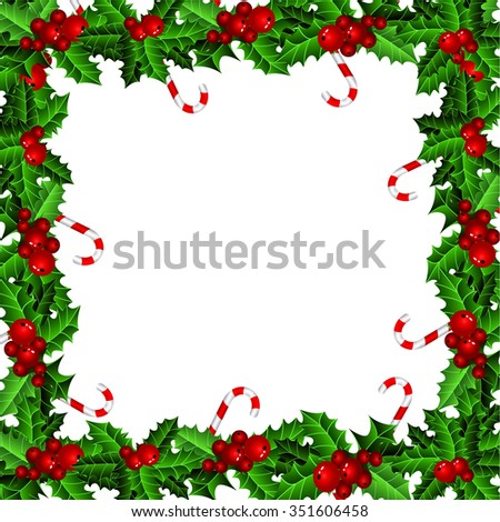 Holly Christmas frame with candy cane isolated