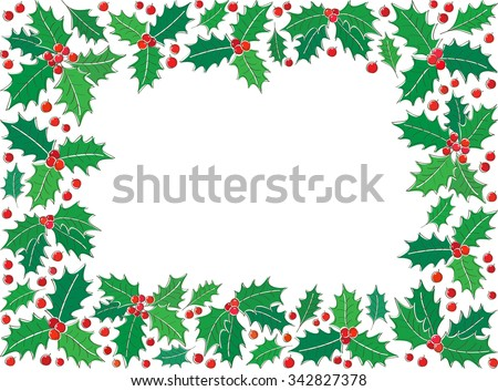 Holly Christmas symbol rectangle frame