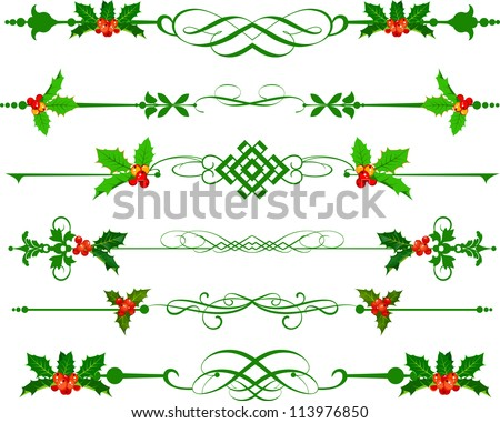 Holly. Christmas. Vector Set for your design for your design - stock vector
