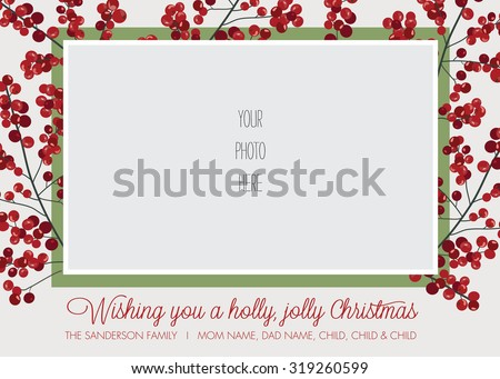 Holly Frame Photo Christmas Holiday Card Stock Vector